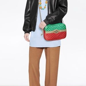 Gucci Metallic Laminated Leather crossbody Bag